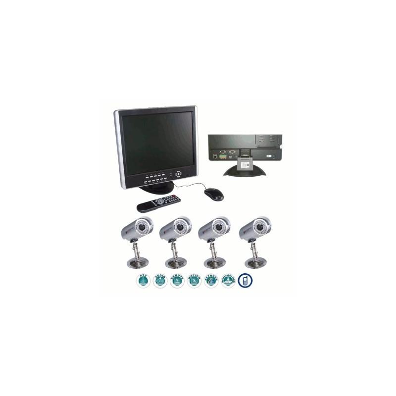 image: PACK 1 ENREGISTREUR 4 CX + 1 ECRAN LCD + 4 CAMERAS + HDD