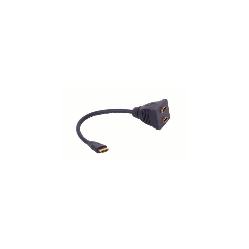 image: coupleur HDMI ; Cordon HDMI Mâle vers 2 x HDMI Femelles. 15cm HD