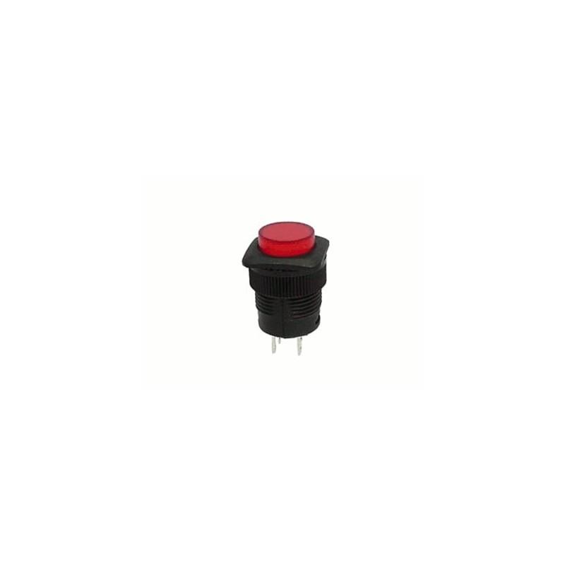 image: BOUTON-POUSSOIR OFF-(ON) AVEC LED ROUGE