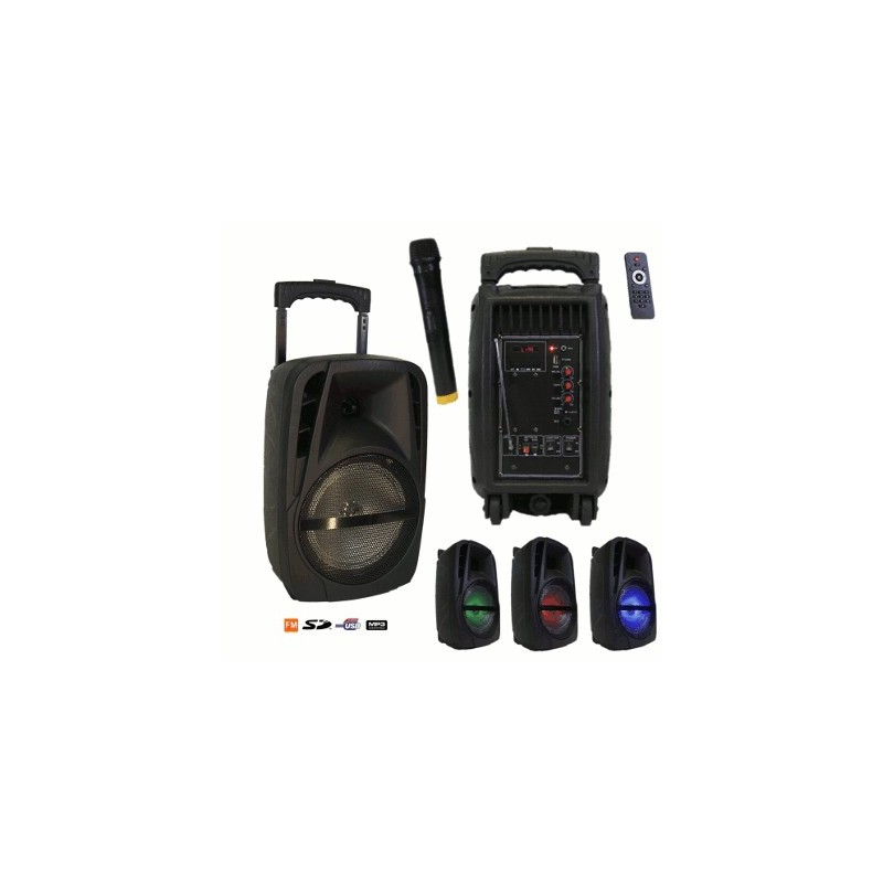 image: Enceinte PORTABLE 600W HF AMPLIFIE MP3/USB/BT/LED + pied
